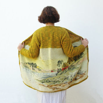 Lake House Jacket Fairy tale Vintage Clothing Landscape Gobelin Tapestry Fabric Clothing US size 8 / 10 EU size 38 / 40