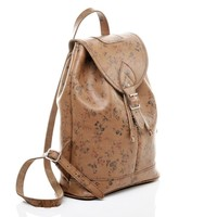 Tan Floral Duffel Bag