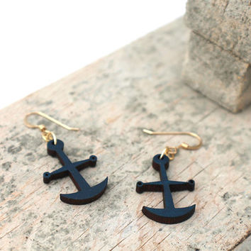 Navy Anchor Wooden Earrings - Laser Cut Wooden Painted Navy Blue Nautical Wooden Anchor and Gold Earrings