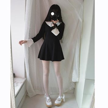 Gothic Lolita Dress For Girls Love Embroidery Peter Pan Collar Women Vintage Full Sleeve Mini A-Line Dresses Black Autumn
