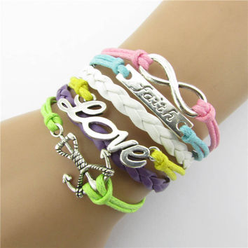 DIY Women Infinity Love Charm Bracelet Leather Bangle Jewelry Chain woven leather bracelet Best gift GB5068 Just For You CF