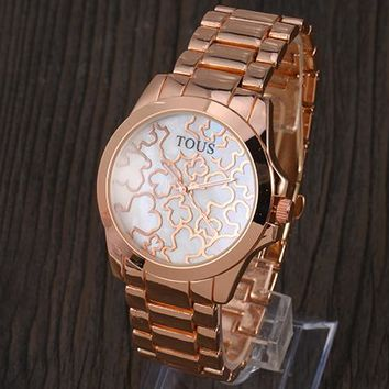 TOUS 2018 trendy men and women with the same fashion wild quartz watch F-YY-ZT Rose gold
