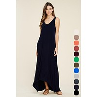 V-Neck High Low Maxi Dress - Black