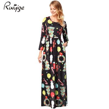 Ruiyige 2017 Winter Women Casual Christmas Printed Half Sleeve O-Neck Tunic Pockets Maxi Dresses Santa Party Long Robes Clothing