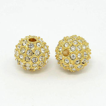 5 Pcs - 10mm Alloy Rhinestone Beads - Gold With Crystal - Spacer Beads - Jewelry Supplies