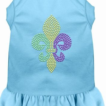 Mardi Gras Fleur De Lis Rhinestone Dress Baby Blue Lg (14) large