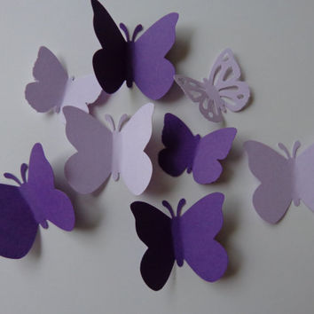 Large And Small Assortment of Purple and Lavender Butterfly Die Cuts-Butterfly Punch, Paper Butterfly, Butterfly Decorations-over 80 pieces