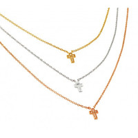 Tri Color Silver Necklace with 3 Cross Pendants.