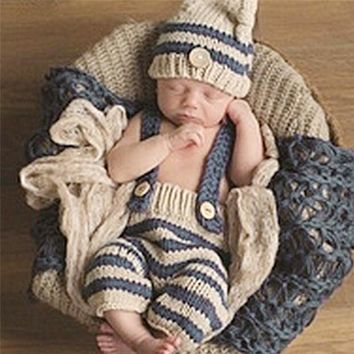 0-4M Newborn Baby Photography Props Infant Knit Crochet Costume Blue Striped Soft Outfits Elf Button Beanie+Pants