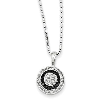 1/3 Ctw White & Black Diamond 13mm Circle Necklace in Sterling Silver
