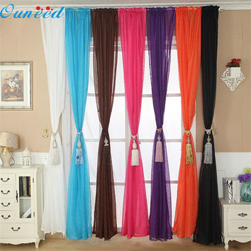 Ouneed lovely pet   Solid Color Tulle Door Window Curtain Drape Panel Sheer Scarf Valance sep928