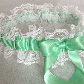 Mint Green and White Lace Wedding Garter, Prom Garter, Bridal Garter, Weddings, Bridesmaid Gift, Homecoming Garter, Bridal Gift