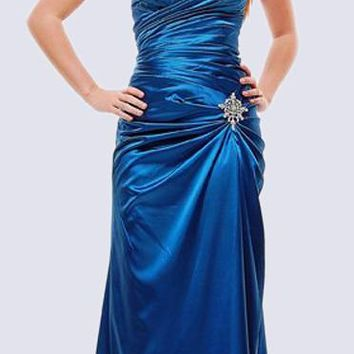 Teal Satin Prom Dress Pleated Bodice Strapless Sweetheart Neck