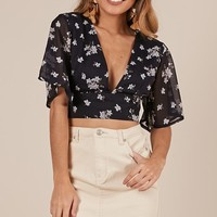 Live Sweetly top in navy floral Produced By SHOWPO