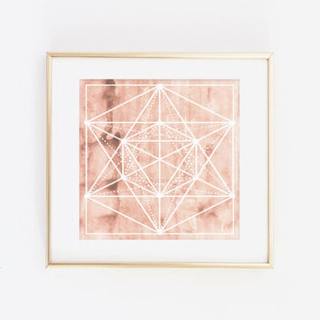 geometric watercolor, peach wall art, bohemian wall art, instant download, printable art, gallery wall print, nursery art, nursery decor
