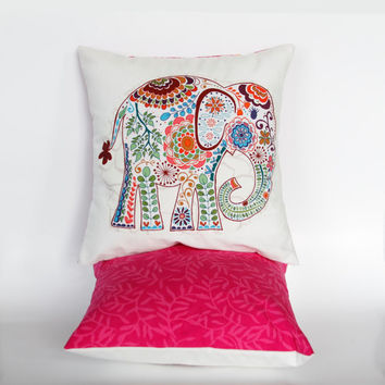 "Bright Pink Elephant Pillow Cover- 12""x12"" Decorative Cushion Cover with elephant appliqué, pink vine batik backing"