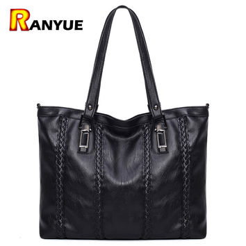 Large Knitting  Handbags Famous Brand Ladies Hand Bags PU Leather  Bag Big Casual Tote Bolsa  Shoulder Bags