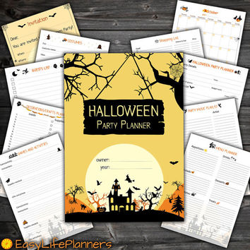 Halloween Party Planner Kit PDF. Printable Invitation. Costumes, decoration, menu, games music playlist planning. Guests list. 10 documents!