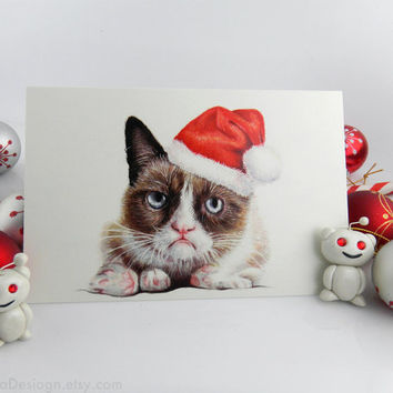 Grumpy Santa Cat; Greeting Holiday Card; Blank; Geek