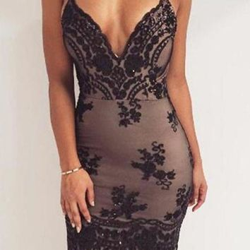 Gauze V-Neck Sequins Backless Bodycon Mini Dress