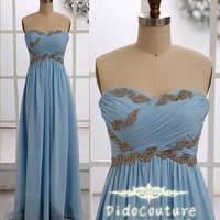 Strapless Sweetheart-neck Floor-length Cheap Chiffon Prom Dresses