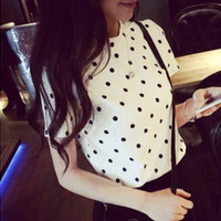 Fashion women's T shirt Short Sleeve blouse fashion women tees Cotton dot print O-neck tops = 1956706628