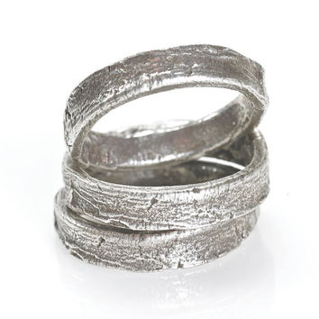 Silver Tree Bark Ring
