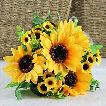 1pc 7 Heads Fake Sunflower Artificial Silk Flower Bouquet Home Wedding Floral Decor Fashion Accessories (Size: One Size, Color: Yellow) [7978672391]