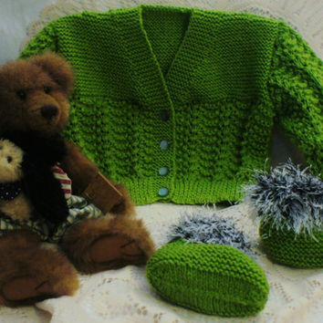 Hand knitted Green Set Jumper and Slipper, Baby / Toddler Jumper / Sweater / Jackets all OOAK