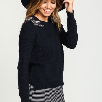 Navy Bejeweled Chunky Knit Sweater