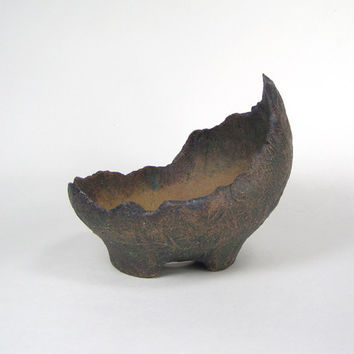 Dark Green Bonsai Accent Scoop, Stoneware Kusamono Planter, Small Succulent Pot, Crescent Pot for Bonsai