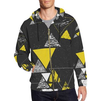Colorful Prism Triangles Design 3 Men's All Over Print Full Zip Hoodie