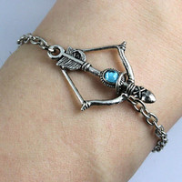 Bracelet-antique silver arrow bracelet,hunger games bracelet