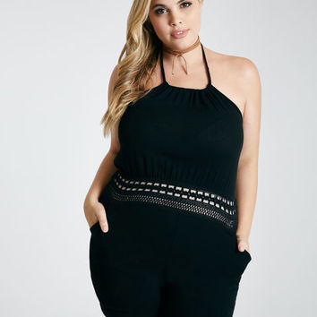 Plus Size Crochet Waist Halter Romper | Wet Seal