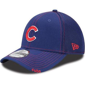 Chicago Cubs New Era Neo 39THIRTY Stretch Fit Flex Mesh Back Cap Hat 3930