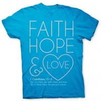 Faith, Hope and Love - Women's Christian Tee | Blue Christian T-Shirt