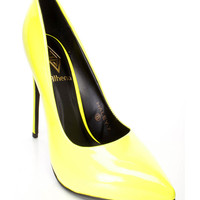 Neon Yellow Pointy Toe Sexy Single Sole High Heels Patent Faux Leather