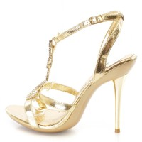 Gold Rhinestone Accent Strappy Heels Faux Leather