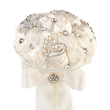 Crystal Flower Bouquet in White or Ivory