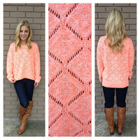 Neon Coral Diamond Knit Sweater