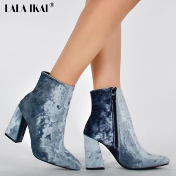 LALA IKAI Velvet Ankle Boots For Women Pointed Toe 9.5CM High Heel Boots Fashion Winter Shoes Women 014N1249-4