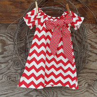 Girls Red Chevron  Dress, Peasant Dress, red dot bow, or red flower, Fall Thanksgiving, Christmas, Holidays 12, 18 months, 2 T and 3 T  size