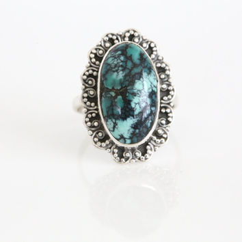 Designer Turquoise Ring  in 925 Silver