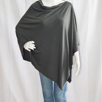 Charcoal Grey Nursing Poncho/ Lightweight Nursing Cover/ Nursing Shawl/ One shoulder Boho Top/ Lightweight Wrap/ New Mom Gift