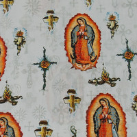 Virgin of Guadalupe Fabric Cotton Fabric Apparel Fabric Clothing Fabric Craft Fabric By the Yard Fabric Guadalupe