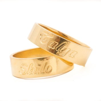 Engraved Ring - Custom gold ring, Engraved gold ring,  Personalized gold ring, Gold name ring, Gold engraved ring, Personalized ring