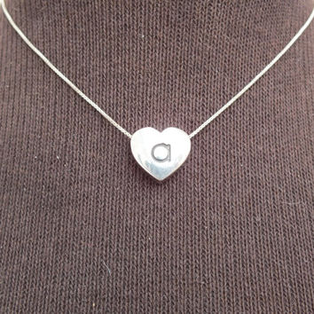 Heart Pendant With Initial A on Silver Choker Size Necklace, Vintage Jewelry, Fine Precious Metal Sterling  Silver Chain, Free Shipping USA