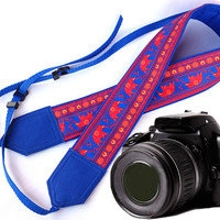 Blue DSLR Camera Strap. Lucky elephant Camera Strap. Camera accessories. Photographer gift.