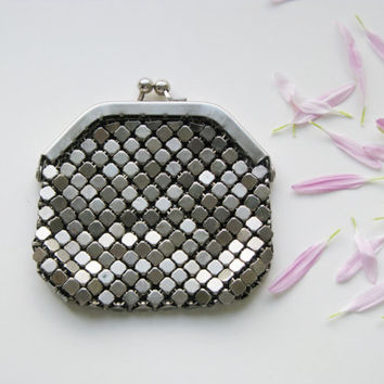 Vintage  unused silver metal mesh Coin Purse 70s Change Wallet , Billfold,  Purse - made in USSR