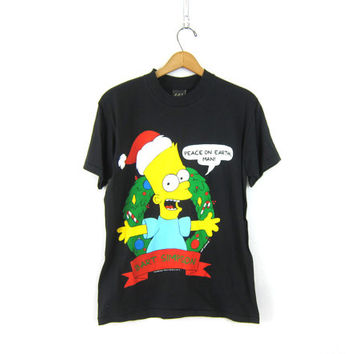25% OFF SALE Bart Simpson Christmas Tee Shirt Ugly tacky Xmas tshirt holiday Party 1990s Bart Simpsons Black t shirt unisex size Medium